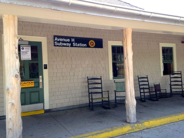Avenue H Station, Brighton Line. The rocking chairs are real and I will not be sitting in one.
