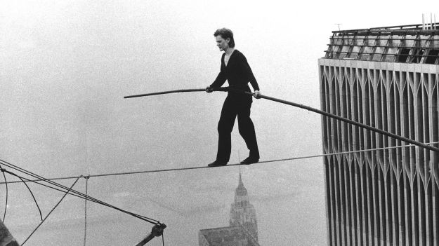 Philippe Petit crossing between the Twin Towers of the World Trade Center, 1974