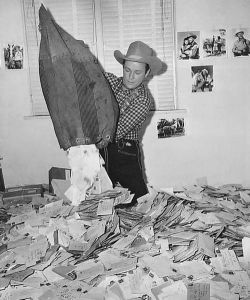 Roy Rodgers and his mail. I think Bullet (his dog) is under there somewhere.