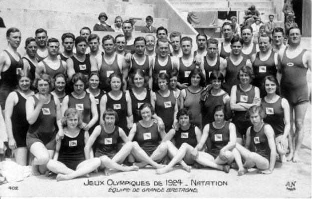 The GB Swim Teams -1924 Olympics. Men and women's suits are identical and made from wool.