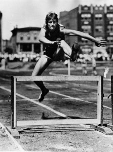 Babe Didrikson, demonstrates her hurdling technique. 1932.